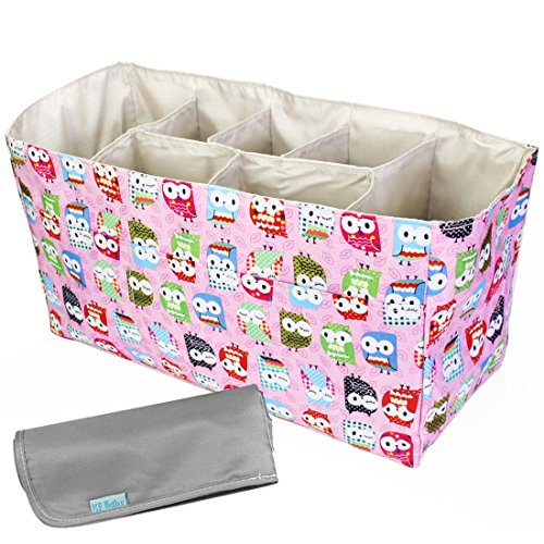 KF Baby Diaper Bag Insert Organizer (14 x 6.4 x 8 inch, Pink) + Diaper Changing Pad Value Combo
