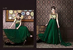 WESTERN DESIGNER PARTY WEAR ANARKALI SALWAR KAMEEZ SUIT PARTY WEAR BRIDAL WEDDING GREEN