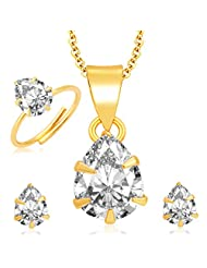 Sukkhi Brilliant Pecock Gold And Rhodium Plated CZ Pendant Set - Ring Combo For Women