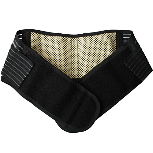 TIAOBU Adjustable Elastic Self-heating Magnetic Therapy Back Lumbar Support Belt (Medium, Black)