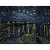 Ocher Art Vincent Van Gogh: Starry Night Over The Rhone, Canvas Print, (30x23 Inches)