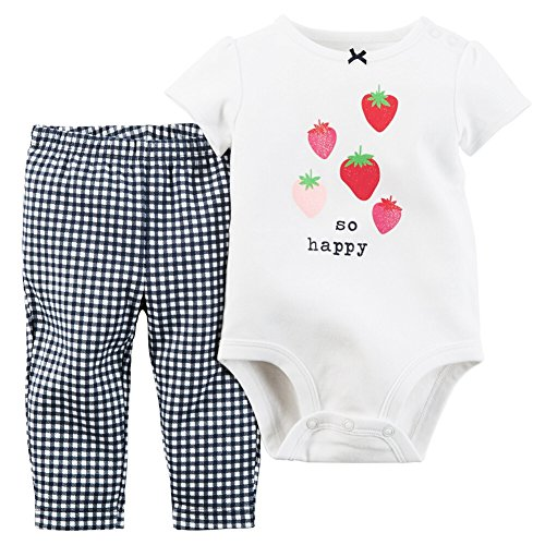 Carters Baby Girls 2-Piece Bodysuit & Pant Set So Happy White NB