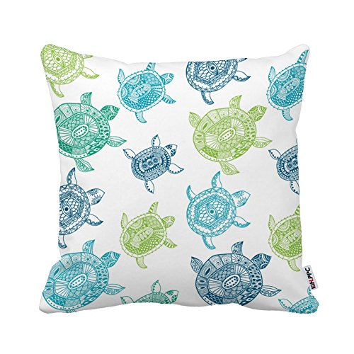 HLPPC ® Beach House Sea Turtle Pillow Cover 18x18 Inches Square Polyester Throw Pillow Case One Side