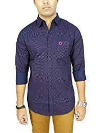 AA' Southbay Men's Navy Geometry Printed 100% Premium Cotton Long Sleeve Party Casual Shirt