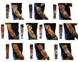 10pc Fake Temporary Tattoo Sleeves Body Art Arm Stockings Accessories - Designs Tribal, Dragon, Skull, and Etc.