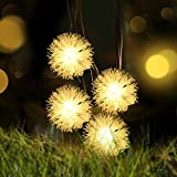 Solar Christmas Dandelion String Lights,LOENDE 50 LED 23FT 8 Modes Warm White Waterproof Decorative Chuzzle Ball for Thanksgiving, Party, Outdoor, Indoor, Xmas Tree, Holiday Decor