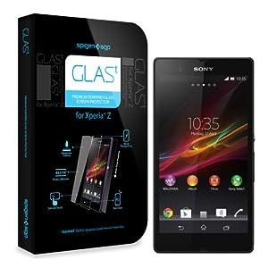 SPIGEN SGP Sony Xperia Z Screen Protector Glass [GLAS.t] Tempered Glass Screen Protector Clear + Back Protector