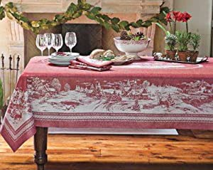 foto de Amazon com: Williams Sonoma Nostalgic Christmas Tablecloth