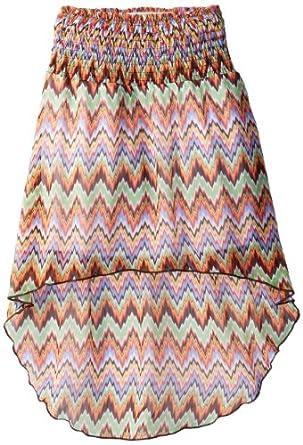 Takara Big Girls' High-Low Printed Chiffon Skirt, Multi, Medium