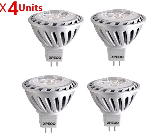 Xpeoo® Pack Of 4 Units Mr16 Gu5.3 Super Bright Led Light 6W Equivalent To 50W Halogen Bulb Spotlight Down Lamp Energy Saving Recessed Tracking Lamps Effect Of Philips Ac Dc 12V - Mr16 Daylight White