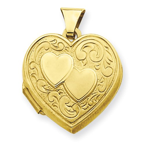 Gold-plated Sterling Silver Double Heart Heart Locket