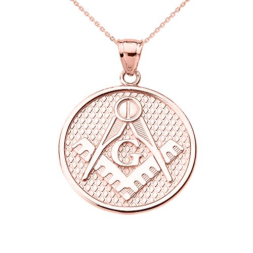 14k Rose Gold Freemason Masonic Square & Compass Pendant Necklace from Claddagh Gold
