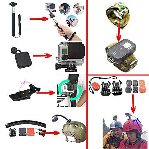 Soft Digits 50 en 1 Accesorio para GoPro Hero 4 3+ 3 2 1, Kit de Accesorios para SJ4000 SJ5000 SJ6000, accesorios de la cámara de acción para Xiaomi Yi en Paracaidismo Natación Remo Surf Esquí Escalada Correr Montar en bicicleta que acampa de buceo