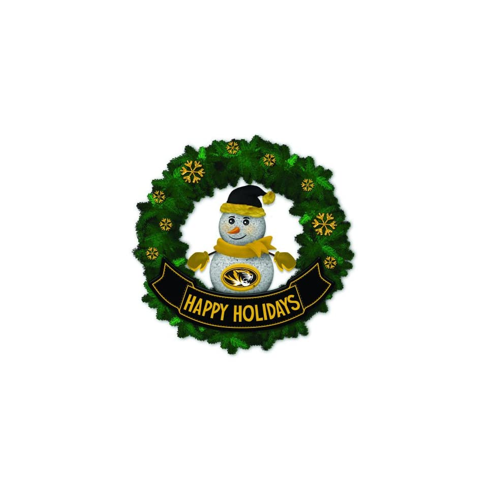 15 NCAA Missouri Mizzou Tigers Lighted Snowman Artificial Christmas Wreath