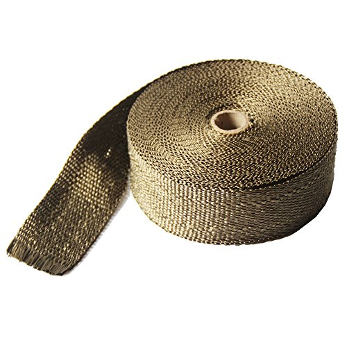 """LEDAUT 2"""" x 50' Titanium Exhaust Heat Wrap Roll for Motorcycle Fiberglass Heat Shield Tape with Stainless Ties 2"""