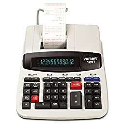VICTOR TECHNOLOGIES 1297 1297 Two-Color Commercial Printing Calculator, Black/Red Print, 4 Lines/Sec