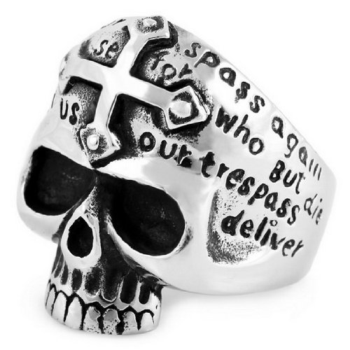 JBlue Fashion - Stainless Steel Rings Band Biker Silver Skull Cross Size 9