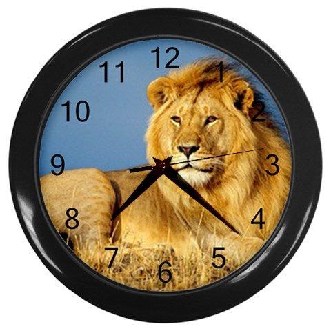 African Lion (design 1) Wall Clock (Black)