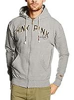 """THINK PINK Sudadera con Cierre Felpa Uomo""""Think Pink""""Full Zip Cotone Tinto Capo Cappuccio Foderato In Tessuto Calanque Logo Davanti (Gris)"""