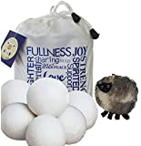 Wool Dryer Balls 6-pack XL with *Free Sheep Coin Purse* - Premium Quality, Organic, Anti Static, Reusable Natural Laundry Softener
