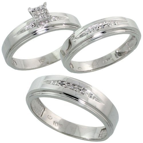 White Gold Diamond Trio Engagement Wedding Ring Set for Him and Her ...