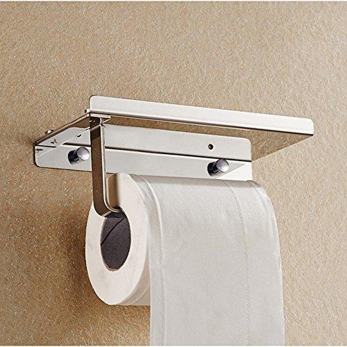 304 Stainless Steel Bathroom Paper Roll Holder with Phone Shelf Bathroom Mobile Phone Towel Rack Toilet Paper Holder Tissue Box