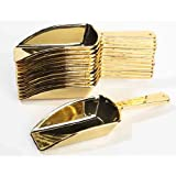Candy Scoop Set - Package of 12 Shiny Gold Plastic Scoops for Wedding and Party Candy Buffets