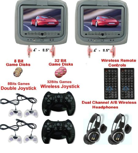 New Gray Pair Headrest 9 LCD Car Monitors with Region Free DVD player 2 Wireless Dual Channel Headphones USB SD and 32 Bit and 8 Bit Game disks and 6 game controllers USB SD MP3 RCA Video input and RCA Video OutPut!