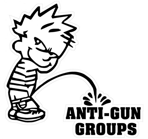 1 Pcs Great Popular Boy Peeing Piss Anti-Gun Groups Stickers Signs Firearm 24Hr Protected Military Size 5