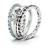 Sterling Silver Stackable Gemstone Trio Ring Set