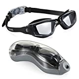 Swim Goggles, Aegend Clear Swimming Goggles No Leaking Anti Fog UV Protection Triathlon Swim Goggles with Free Protection Case for Adult Men Women Youth Kids Child, Black