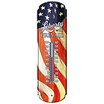 """Reflective Art Liberty will Prevail Vintage Style Tin Thermometers, 5"""" L x 17"""" H x 2"""" W"""