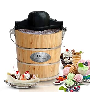 MaxiMatic EIM-502 Elite Gourmet 4-Quart Old-Fashioned Pine-Bucket Electric/Manual Ice-Cream Maker