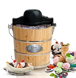 MaxiMatic EIM-502 Elite Gourmet 4-Quart Old-Fashioned Pine-Bucket Electric/Manual Ice-Cream Maker
