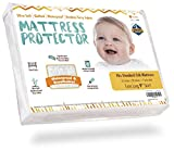 Fitted Waterproof Crib Mattress Protector Pad Sheet / Cover - Quilted Ultra Soft, White Bamboo Terry Fabric for Baby Boy/Girl or Toddler