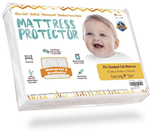 Waterproof Crib Mattress Protector Pad Cover - Ultra-Soft Bamboo, Fitted Sheet with Large 9