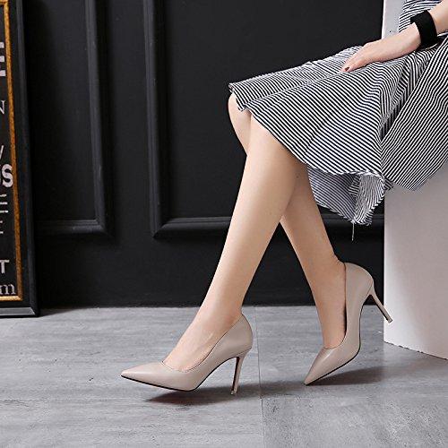 zz&Y Il senso del a tacco alto scarpe con punta fine porta luce singola calzatura,Albicocca,37