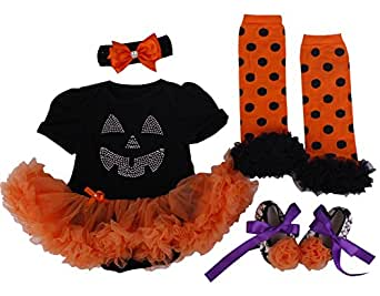 Bomdeals Baby Girl's Halloween Costumes Pumpkin Outfit Tutu Dress 4pcs