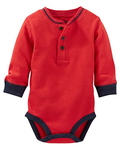 Oshkosh B'gosh Baby Boys' Thermal Henley Bodysuit (9 Months, Red/Navy) (Baby Thermal Bodysuits compare prices)
