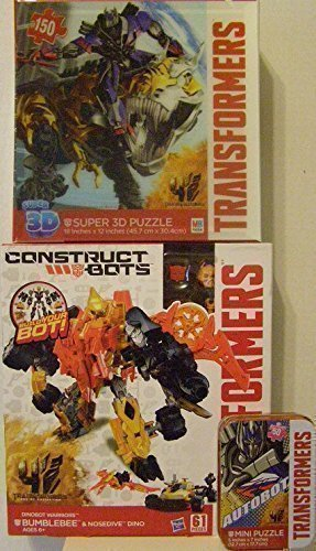 Transformers Age of Extinction Construct-Bots Dinobot Warriors Bumblebee & Nosedive Dino Action Figures, 150 Piece 3D Jigsaw Puzzle, & 50 Piece Mini Puzzle in a Collectible Travel Tin! (3 Item Bundle)
