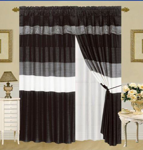 Modern Black / White / Grey Faux Silk Taffeta Window Curtain / Drape Set With Sheer Backing 120-By-84-Inch front-680354