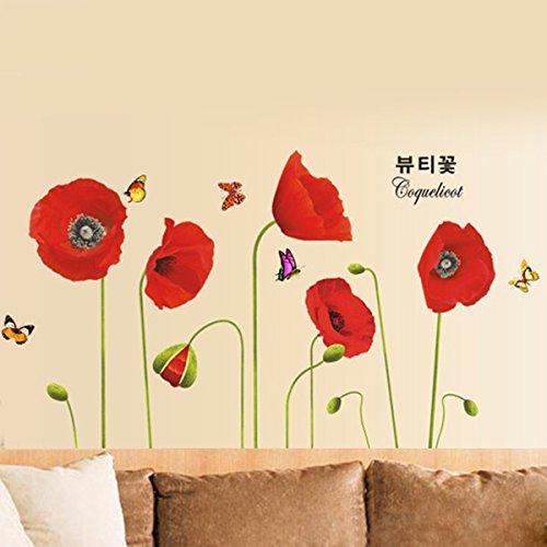 Ufengke rosso romantico rosa fiori adesivi murali camera for Parete rossa soggiorno