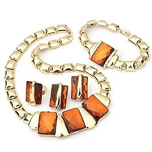 Metal Champagne Rhinestone Necklace + Finger Ring + Bracelet + Stud Earrings Set