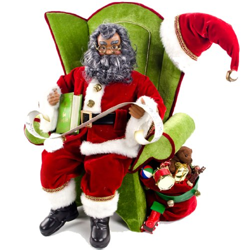 Christmas Gifts For Men South Africa: African American Santa Sitting On A Chair Decoration