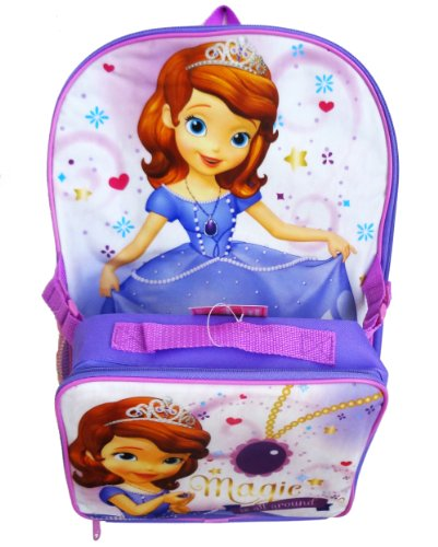 """Disney Sofia the First 16"""" Backpack School Bag with Detachable Lunch Kit - 1"""