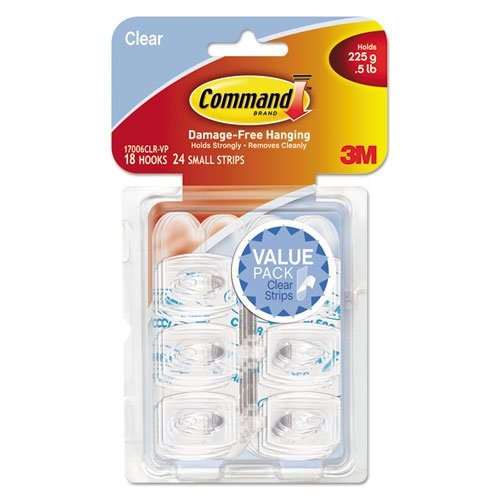 Command Mini Clear Hooks with Clear Strips, 18 Hooks with 24 Adhesive Strips per Pack
