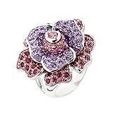 Rhodium-Plated LA VIE EN ROSE Ring with Swarovski Crystal. FREE Gift Box.