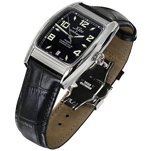 Orologio automatico Xezo for Unite4:good Incognito con forma tonneau ampia, cristallo zaffiro svizzero, movimento Citizen, 10 ATM, stile retrò.