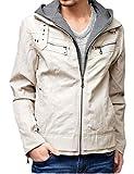 レザージャケット メンズ 大きいサイズ フード付き ライダースジャケット 3L アイボリー(04)