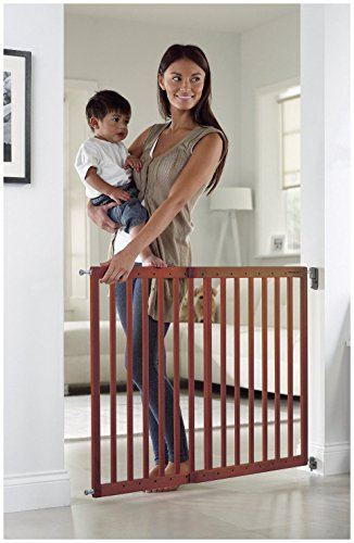 Munchkin Extending Wood Safety Gate Dark Wood Baby